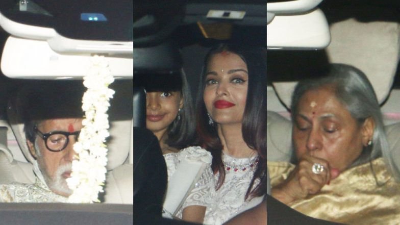 Diwali 2018: Amitabh Bachchan With Jaya, Aishwarya and Aardhya Steps Out for Puja at His Old House – View Pics