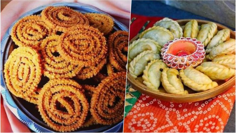 Diwali 2018 Snack Recipes: From Mathris to Gujiyas, Prepare These Delicious Delicacies For Your Deepavali Party! (Watch Videos)