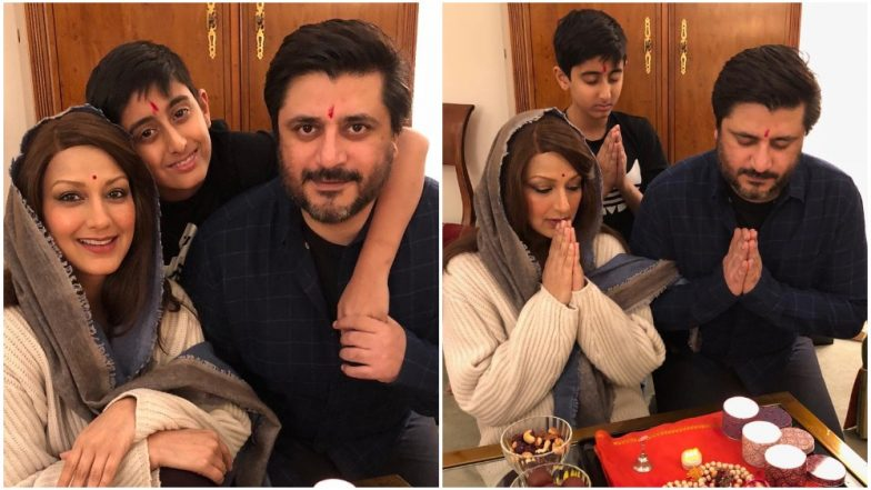 Sonali Bendre Celebrates Diwali With Husband Goldie Behl and Son Ranveer in New York Amidst Her Cancer Treatment – View Pics