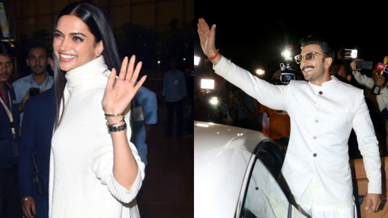 Twinning in White Deepika Padukone-Ranveer Singh Leave for Italy for Their Big Fat Indian Wedding – View Pics