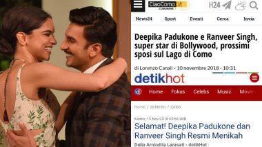 Ranveer Singh Weds Deepika Padukone: World Media Is Going Gaga Over 'Bollywood's Royal Couple'