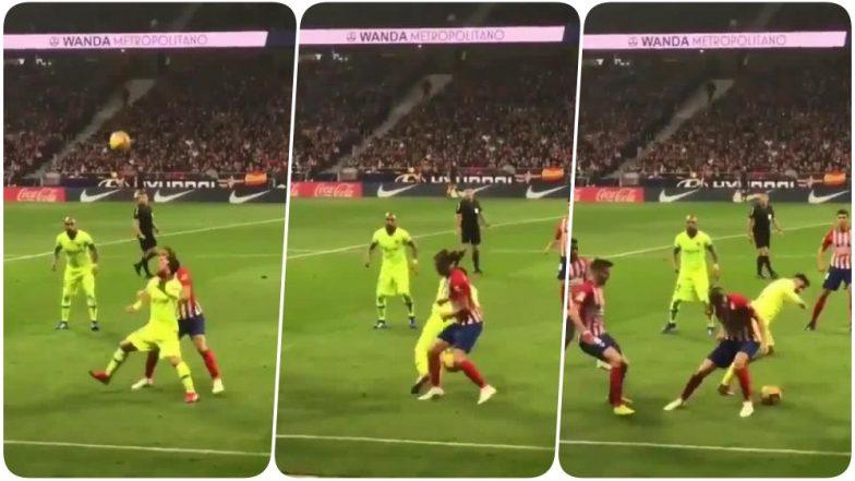 lionel messi s nutmeg on filipe luis during barcelona vs atletico