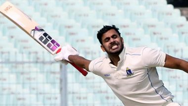 Manoj Tiwary Slams Maiden Triple Hundred in First-Class Cricket, Achieves Feat During Bengal vs Hyderabad Clash in Ranji Trophy 2019–20