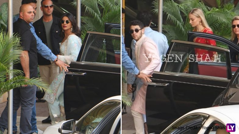 Nick Jonas With Joe and Sophie Turner Arrive at Priyanka Chopra's Residence to Attend Puja - See Pic