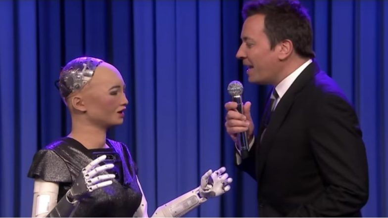 Jimmy Fallon Sings 'Say Something' With Robot Sophia on 'The Tonight Show' (Watch Video)