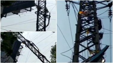 Telangana Assembly Elections 2018: TDP Supporter Deepak Reddy Climbs Electric Pole, Demands Ticket From Khairatabad Constituency