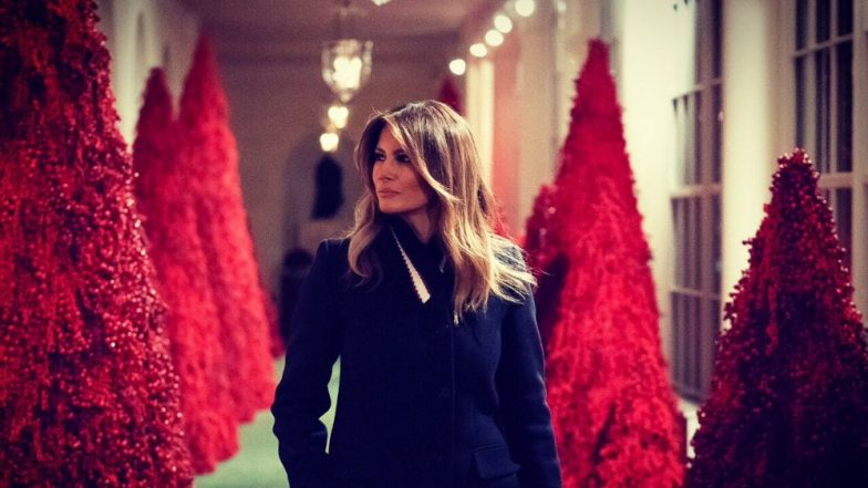 Melania Trump Unaffected by Twitter Trolls Terming White House Red Christmas Trees and Decorations Spooky, Says They Are 'Fanstatic'