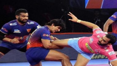 PKL 2019 Match Report & Results: Dabang Delhi Ride Naveen Kumar's Stunning Effort to Pip Jaipur Pink Panthers at Sree Kanteerava Stadium