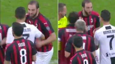 Cristiano Ronaldo Defends Gonzalo Higuain After Being Pushed by AC Milan Footballer During the Match Against Juventus (Watch Video)