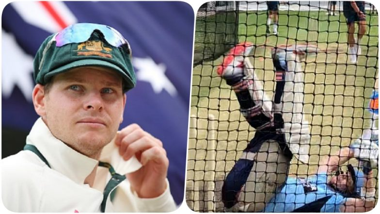 Steve Smith Falls Down While Facing Australian Pacer in the Nets (Watch Video)