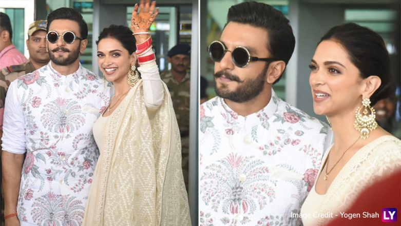 Deepika Padukone and Ranveer Singh Continue to Giggle and Wave as They Reach Bengaluru For Their Reception-Pics