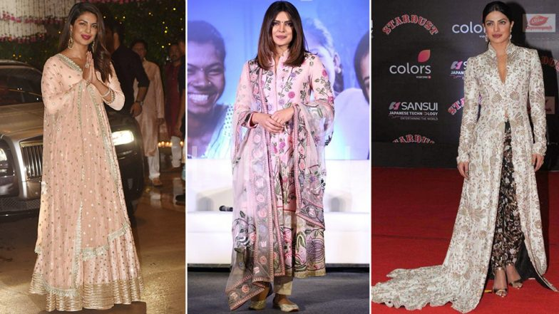 Diwali 2018 Outfit Inspiration – Priyanka Chopra: From Elegant Sarees to Conventional Suits, Take Some Cues From This 'Desi Girl' on How to Nail Your Traditional Wardrobe – View Pics
