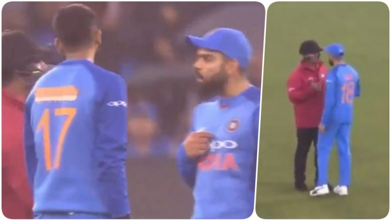 Virat Kohli Argues With On-field Umpire After the 2nd T20 Game Between India and Australia was Continued Despite Heavy Rainfall (Watch Video)