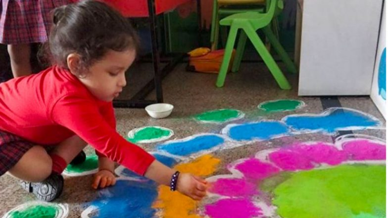 Old Pics of MS Dhoni's Daughter Ziva Making Rangoli at School Continues to Be the Sweetest Sight Even This Deepavali 2018 (See Pics)