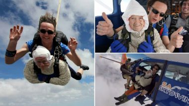 Oldest Skydiver in the World: Video of 102-Year-Old Adorable Grandmother Jumping in Australia Goes Viral