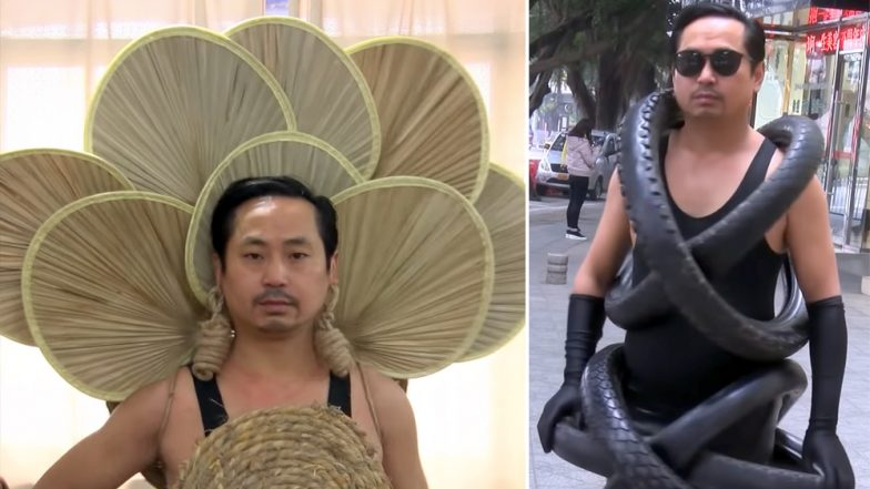 Farmer Creates Clothes From Pipes, Curtains, Bamboo Fans etc and Catwalks in the Streets of China (Watch Viral Video)