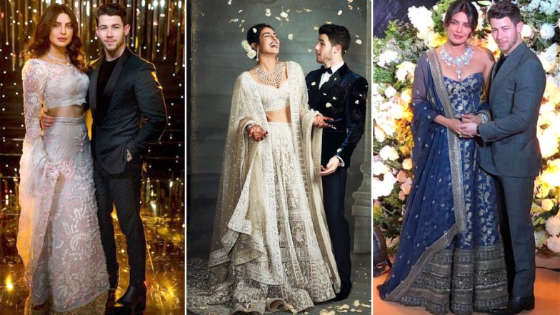 Priyanka Chopra - Nick Jonas Reception: From a Brocade Corset to a Hand Embroidered Skirt, PeeCee's Different Outfits Should Be Bookmarked By Every Bride-to-Be (View Pics)