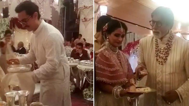 Isha Ambani-Anand Piramal Wedding: Aamir Khan, Amitabh Bachchan Serve Food to Guests; Watch Adorable Video