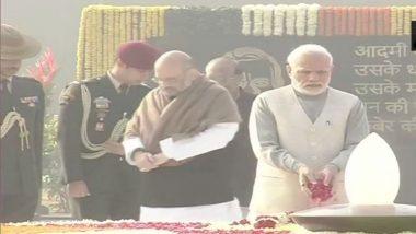 Atal Bihari Vajpayee Birth Anniversary: PM Narendra Modi, President Ram Nath Kovind, VP Venkaiah Naidu, Manmohan Singh Pay Tribute at Smriti Sthal in Delhi; View Pics