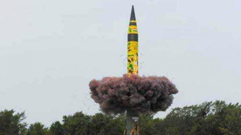 India Test-fires its Longest Range Nuclear Capable Ballistic Missile Agni-V from Odisha