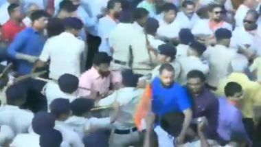 Goa BJP & Congress Workers Clash Over Rafale Issue in Panaji, BJP Leader Flings 'Thali of Samosa'; Watch Video