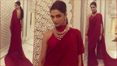 Deepika Padukone Looks Resplendent in Red Faabiiana Saree at Isha Ambani-Anand Piramal Wedding Sangeet (See Pics)