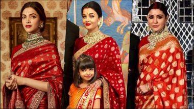 Deepika Padukone, Aishwarya Rai Bachchan & Anushka Sharma: Who Nailed the Red Sabyasachi Saree Look Better? See Pics & VOTE
