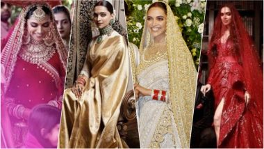 Deepika Padukone's Complete Wedding Lookbook: From Sabyasachi, Abu Jani Sandeep Khosla to Zuhair Murad, the Actress Rocked These 12 Outfits (See Pics)
