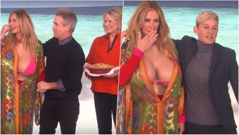 How to Get 'Kim Kardashian Boobs'? Ellen Gives Julia Roberts a Makeover to Boost Her Instagram Followers (Watch Video)
