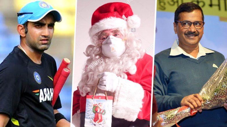Gautam Gambhir Posts Pic of Santa Claus Wearing Air-Filter Mask to Wish Merry Christmas, Takes Sly Jibe on Delhi CM Arvind Kejriwal
