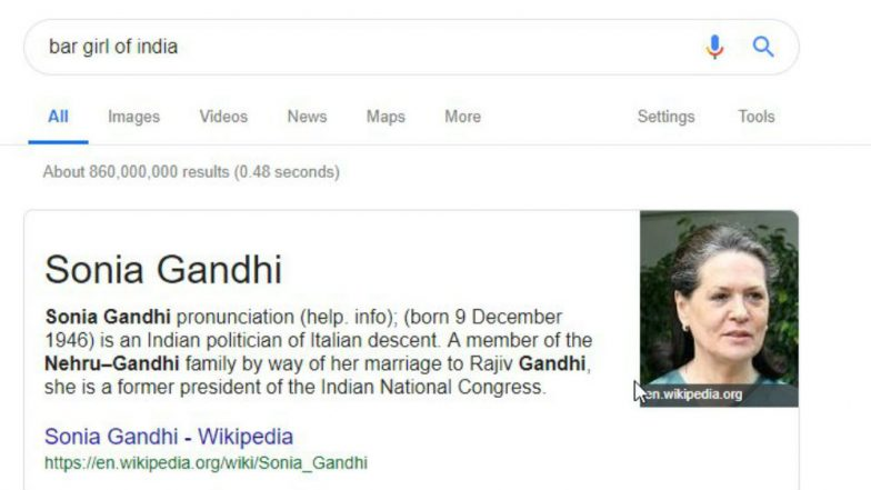 Searching 'Bar Girl in India' on Google Throws Sonia Gandhi Wikipedia Page, Twitterati Amused