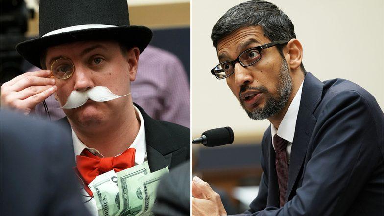 Sundar Pichai at US Congress Hearing: Monopoly Man Strikes Again! Ian Madrigal Garners Attention at Google CEO's Testimony (Watch Video)