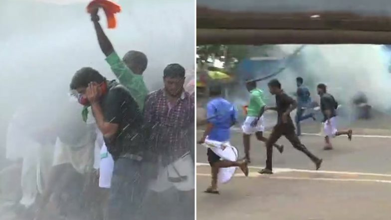 Sabarimala Row: BJP Workers March Towards Kerala CM's Residence, Police Use Water Cannon, Tear Gas Shells to Disperse Crowd