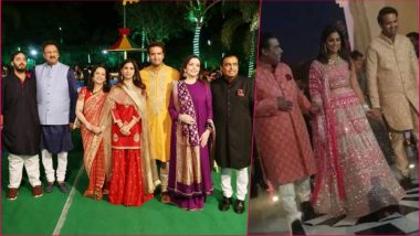 Isha Ambani-Anand Piramal Wedding Sangeet: Bride-to-Be Looks Pretty in Pink Lehenga in This First Pic With Father Mukesh Ambani