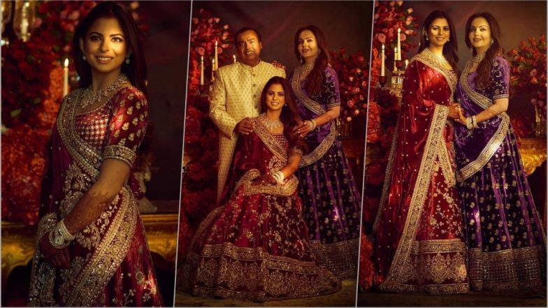 Isha Ambani With Parents Mukesh and Nita in Sabyasachi Outfits for the Reliance Family Reception in Mumbai! See Pics