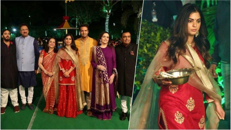 Isha Ambani-Anand Piramal Wedding: Isha Donned a Red Sharara for a Pre-Wedding 'Anna Seva' Event in Udaipur, See Pics