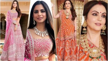 Isha Ambani-Anand Piramal Wedding: Bride-to-Be & Her Mother Nita Look Gorgeous in Manish Malhotra Lehengas During the Sangeet Ceremony (See Pics)