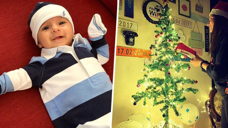 Sania Mirza Shares an Adorable Selfie With a Decorated Christmas Tree, Shows Guitar With Name of Son 'Izhaan' Written On it