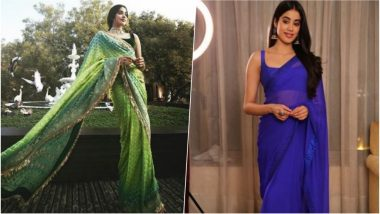 Janhvi Kapoor in Blue Arpita Mehta or in Green Manish Malhotra Saree – Which Ethereal Traditional Outfit Did the 'Dhadak' Girl Ace Better? (View Pics)