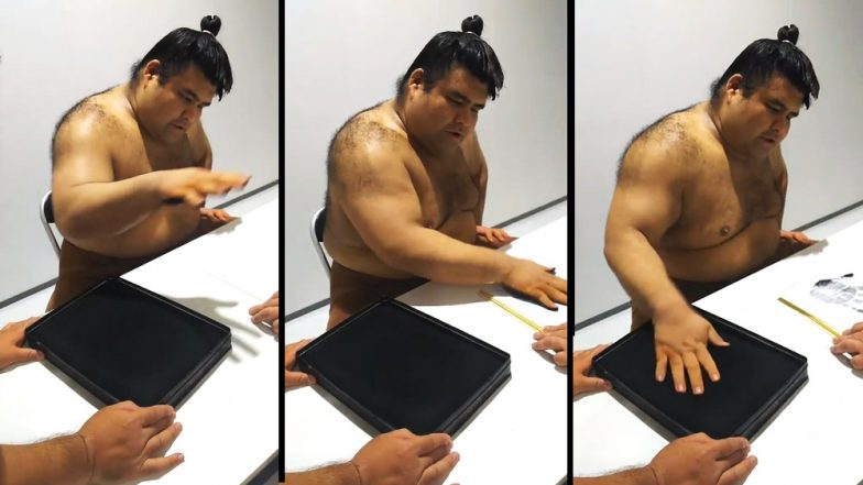 Japanese Sumo Wrestler Takayasu Akira Signs Autograph With His Palm in a Bizarre Fashion: Watch Viral Videos