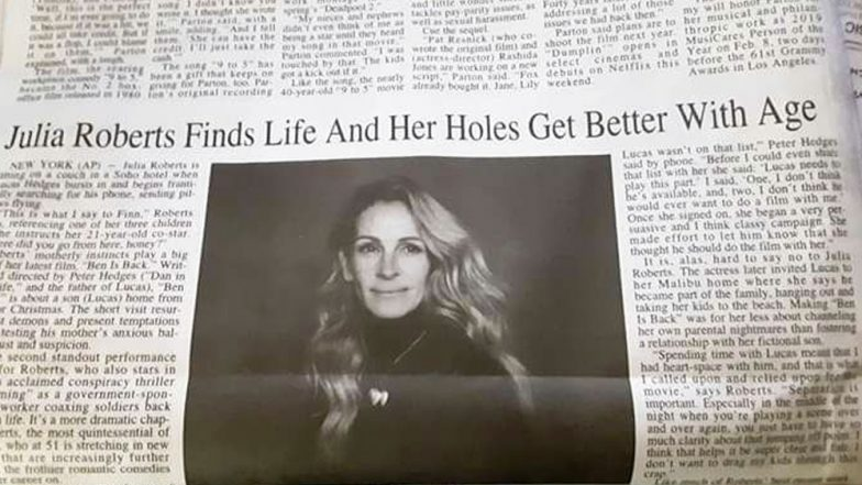 Julia Roberts' 'Holes Get Bigger With Age' Says a Typo in New York Local Newspaper Headline, View Pic of The Glaring Error!