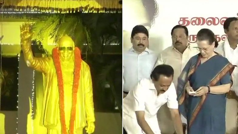 DMK Patriarch M Karunanidhi Statue Unveiled by Sonia Gandhi in Chennai, Opposition Leaders Unite For Show of Strength