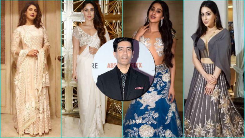 Manish Malhotra Birthday Special: From Kareena, Priyanka to Janhvi and Sara, A Look at Actresses Who Stunned in the Designer's Creations (See Pics)