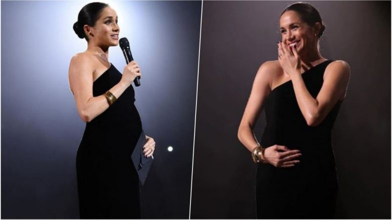 Meghan Markle Flaunts Her Royal Baby Bump In Black Givenchy Gown
