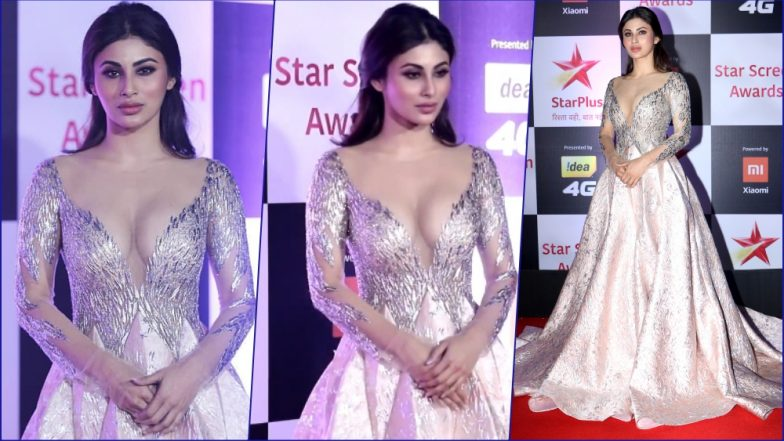 Mouni Roy Puts On a Very Racy Display in Plunging Neckline Shimmery Gown at 2018 Star Screen Awards (See Hot Pics)