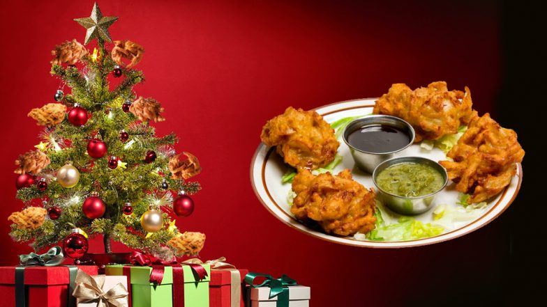 Desi Christmas Tree Decoration With Onion Pakodas Fried Onion Bhaji