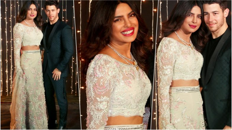 Priyanka Chopra Looks Ravishing in Abu Jani Sandeep Khosla's Pastel Lehenga for Her Third Reception in Mumbai for Bollywood Celebs, See Pics