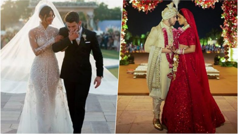 Priyanka Chopra in Ralph Lauren Bridal Gown or in Sabyasachi Traditional Red Lehenga – Which Bridal Look Do You Love from Her Wedding – See Pics