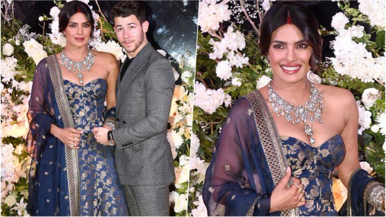 Priyanka Chopra Wears a Massive Sparkling Diamond Necklace by Sabyasachi at Her Second Reception in Mumbai, See Pics