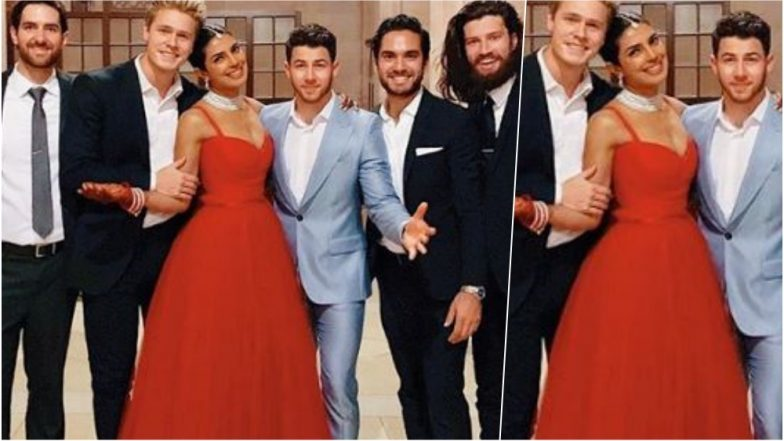 Priyank Chopra-Nick Jonas Post-Wedding Bash Pics: The Actress Looks Gorgeous in Red Dior Gown and Matching Chooda in Udaipur (See Pics)